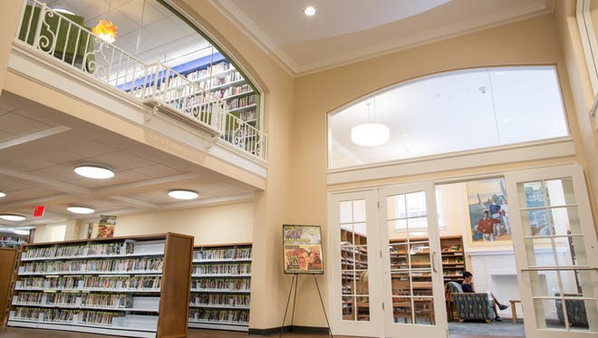 The entrance to Larchmont's newly-renovated library.