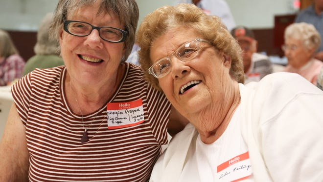 Margie Asper, left, and Arlene Railing were among the attendees of Sunday's All Students Reunion of former students of the six Lurgan Township schoolhouses.