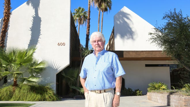 Architect Hugh Kaptur at the building he designed at 600 Tahquitz Canyon Way in Palm Springs. The photo was taken on Oct. 11, 2016.