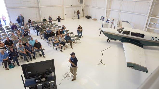 "Congressman Steve Pearce, discusses his flight around the world to honor veterans in March at a ""Fly-in"" for local veterans, Saturday October 22, 2016 at the Las Cruces International Airport."