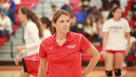 North Rockland's volleyball coach Colette Jurman watches