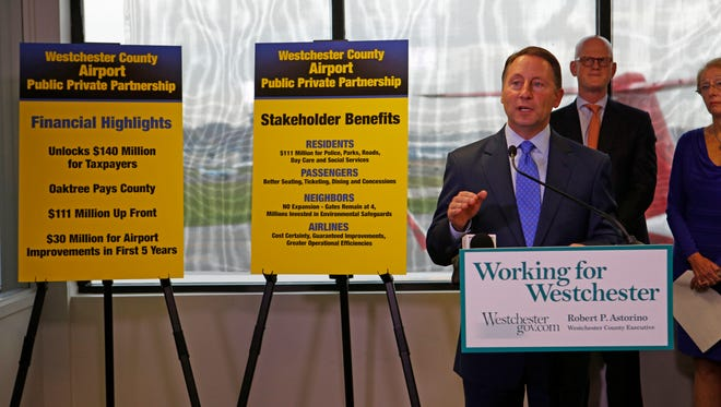 Westchester County Executive Robert Astorio held a press conference to announce a proposal to develop Westchester County Airport with a new management company on Nov. 3, 2016.