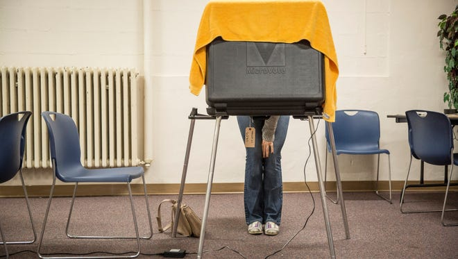 Voter at a voting booth.