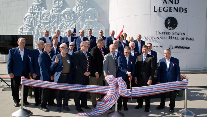 The grand opening of Kennedy Space Center Visitors Complex's newest attraction, Heroes and Legends, featuring the U.S. Astronaut Hall of Fame, took place Friday morning, Nov. 11, 2016.