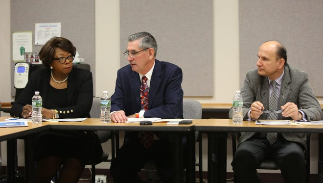 From left, East Ramapo Superintendent, Charles Szuberla, the s and state monitor for the East Ramapo schoolsDeborah Wortham, and Valter Paci assistant superintendent of finance talk about the districtÕs $58 million bond vote on Dec. 6. in West Nyack Nov. 22, 2016.
