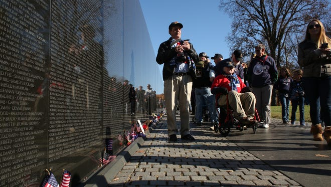 Twin Tiers Honor Flight Mission 5 visits the Vietnam Veterans Memorial in Washington, D.C., in November 2016.