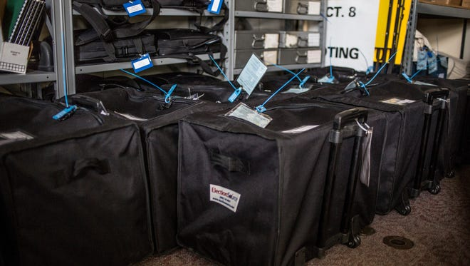 Ballot boxes are sealed and stored Tuesday, Nov. 29, 2016 at the City Clerk's Office in the Municipal Office Center in Port Huron.