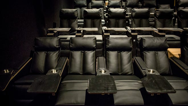 Leather reclining seats are in the process of being installed at Sperry's Movie House in Port Huron. All theater seats will operate solely on solar power.