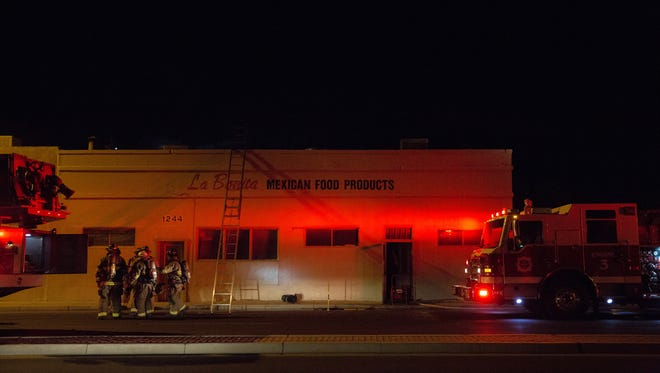Las Cruces Fire Department blocked the west bound lanes of Picacho to work a fire at 1244 W. Picacho Ave,  The La Bonita Mexican Food Products Building near Valley.Wednesday, November 30, 2016. The fire was still under investigation as of Wednesday night.