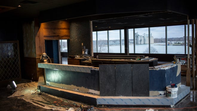 Renovation work is underway on the bar Friday, Dec. 9, 2016 at Rix's Rooftop, located in the former Fogcutter restaurant, in Port Huron. The restaurant is slated to open by the end of January.