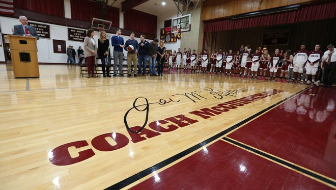 Albertus Magnus formally dedicated the basketball court to former coach and athletic director Joe McGuinness on Dec. 13, 2016.