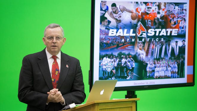 Director of Athletics Mark Sandy talks with Ball State University Board of Trustees members during a committee meeting on Friday in the Ball Communications Green Screen Studio.