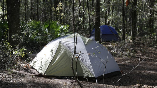 The Water is Life Camp on the Santa Fe River provides tents for visiting activists.
