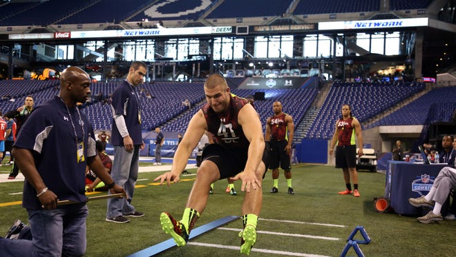 Fans will get a chance to test their own skills in such events as the broad jump, 40-yard dash and vertical jump. Then Florida State Seminoles defensive lineman Bjoern Werner did the broad jump in 2013 during the NFL Combine at Lucas Oil Stadium. He played for the Colts 2013-2015.