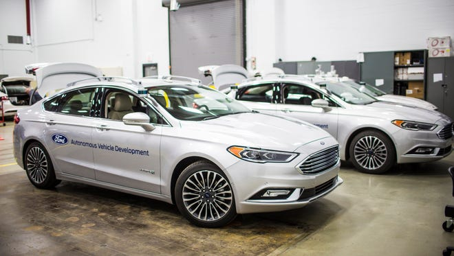 The test fleet of Ford's self-driving Ford Fusion Hybrid.