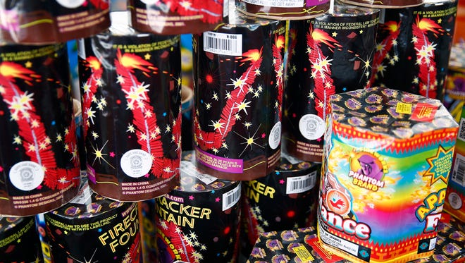 Fountain fireworks are shown for the Phantom Fireworks display June 30, 2016 at Tarpon Bay Plaza shopping center in Naples, Fla. The colorful common-use pyrotechnics are being sold around the city in time for the Independence Day weekend. (Corey Perrine/Staff)