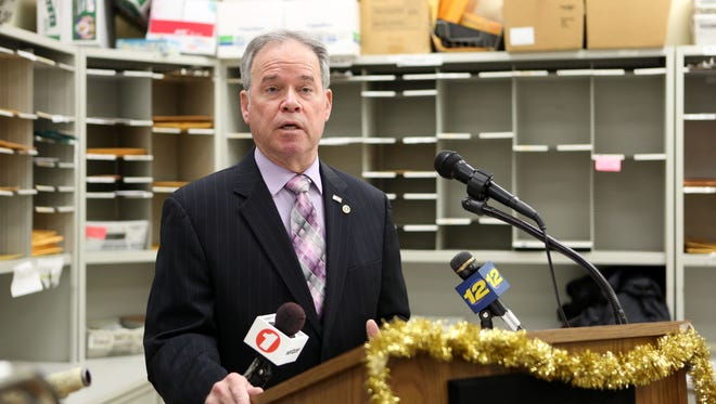 County Executive Ed Day announces a plan to work with the legislature to help fund Rockland nonprofits Dec. 28, 2016 in the county mail room in Pomona.