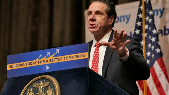 File photo: New York Gov. Andrew Cuomo makes an infrastructure announcement about JFK International Airport in Jan. 2017. (AP Photo/Richard Drew)