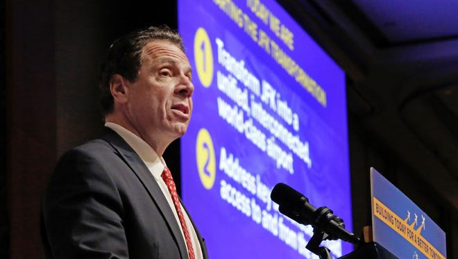 New York Gov. Andrew Cuomo makes an infrastructure announcement about JFK International Airport during the Association for a Better New York luncheon, in New York, Wednesday, Jan. 4, 2017. (AP Photo/Richard Drew)