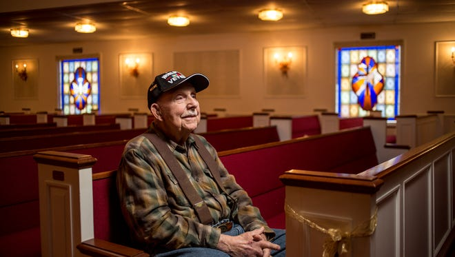 World War II veteran Orville Swick is pictured at Westminster Presbyterian Church in Port Huron, where he has been a member since 1950. Swick, 93, of Burtchville Township, served in the U.S. Navy aboard the USS Arided. Swick, who has written a book on his experiences, will hold a signing Jan. 17 at the church, exactly 71 years after his discharge date.