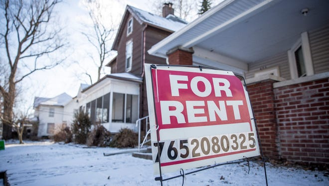 For rent signs in front of properties near Ball State University on Sunday. Landlords in Muncie could be affected when the city council votes Monday night on a landlord-registration ordinance.