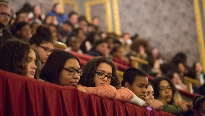 Students from three Paterson schools - Eastside HS, JFK HS and Panther Academy - listened to cast members from the broadway smash Hamilton after the show. The Hamilton Project and the Rockefeller Foundation provide tickets to those who might normally be unable to buy them, and provided the Paterson schools with the tickets for today's matinee performance.