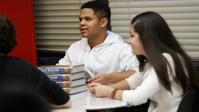 Justin Wimpish, 15, participates in a discussion on robotic ethics at a class in Woodlands High School in Hartsdale.