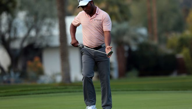 Harold Varner III on 16 at La Quinta Country Club during the 1st round of the CareerBuilder Challenge on Thursday, January 19, 2017.  He finished the day tied for 2nd.