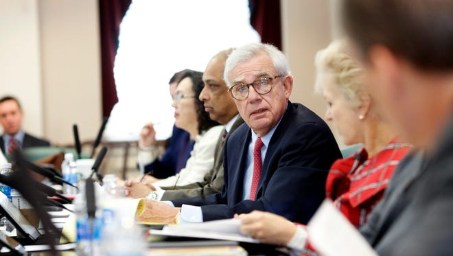 University of Louisville Board of Trustees chairman, David Grissom talks during a special meeting in the Jefferson Room in Grawemeyer Hall on Jan. 21, 2017