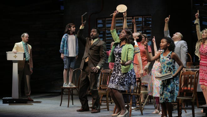 "At the first service at the PreacherÕs (Opal BuloniÕs father) new church, the cast sings ÒRaise Your VoiceÓ ""Because of Winn-Dixie"" at the Alabama Shakespeare Festival, opens Friday, Jan. 27, 2017."