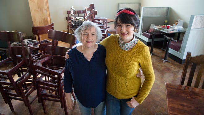 Marybeth Higgins, left, and her daughter  Meagan Higgins are in the processes of opening up Indulgence Bakery & Cafe on South Main Street. Tuesday, January 24, 2017.