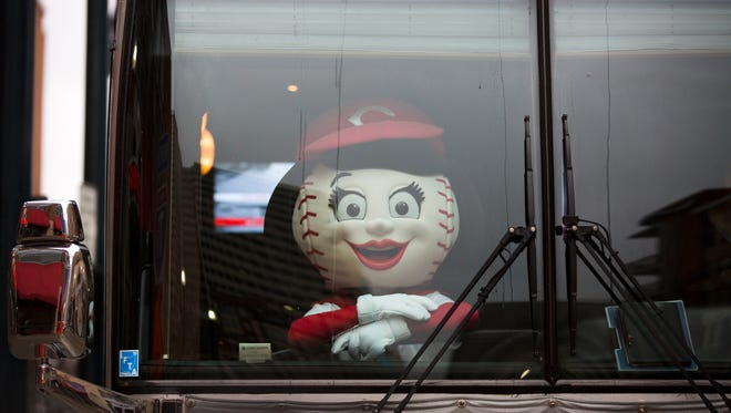 Thu., Jan. 26, 2017: Rosie Red waits for her bus to depart on the annual Cincinnati Reds Caravan departed Thursday morning from Great American Ball Park.