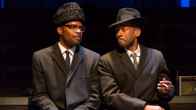"Jimonn Cole (left) as Malcolm X and Joshua David Robinson as Doc in the Acting Company's national tour of ""X: Or, Betty Shabazz v. the Nation."""
