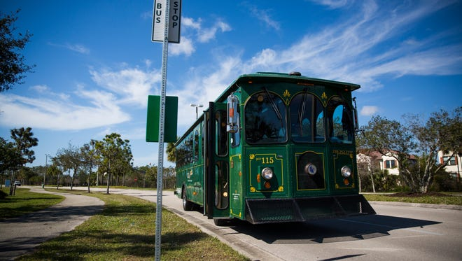 Collier County will try a free beach trolley this winter that it hopes will be more successful than this trolley that operated for a fee last year out of North Collier Regional Park .