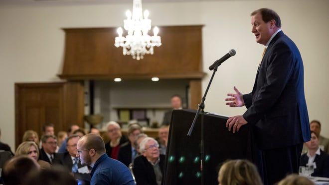 Trevor Lauer, president and chief operating officer of DTE Energy, speaks during the St. Clair County Economic Development Alliance semi-annual luncheon Tuesday, Feb. 14, 2017 at Alexander's in Marysville.