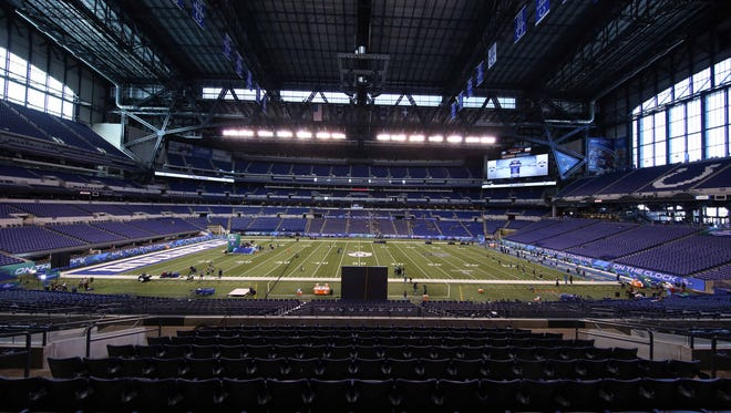 A general view of Lucas Oil Stadium during the 2016 NFL Scouting Combine Feb. 29, 2016.