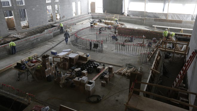 The new pool area will feature lap swimming, a lazy river and a hot tub.  Work continues on the $16 million renovation at the downtown Oshkosh YMCA. Phase 1 will be ready on June 1 for members to use, with Phase 2 opening Nov. 1. Miron Construction is the general contractor.