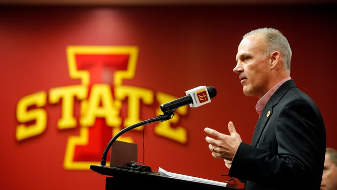 New Iowa State wrestling coach Kevin Dresser speaks to the media Wednesday, Feb. 22, 2017.