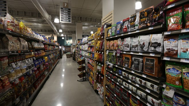 Snack aisle at the new Des Moines downtown Hy-Vee, Fourth & Court Wednesday Feb. 22, 2017.