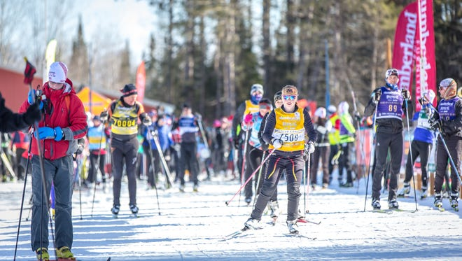 Skiers take to the Birkie Trail for a quick ski on the 5K loop in spite of the cancellation of the BerkieFest 2017 race.