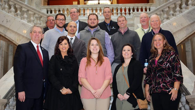Senator Dorsey Ridley, D-Henderson (front row, left), and Rep. Suzanne Miles, R-Owensboro (front row, right) with the Union County First Leadership Class.