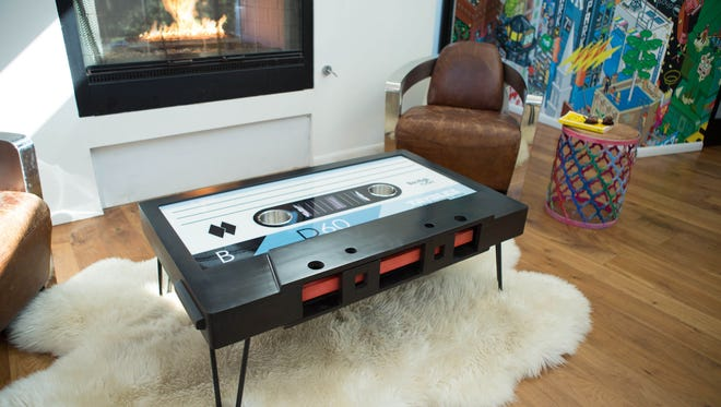 This contributed photo shows the cassette tape coffee table created and sold by TAYBLES.