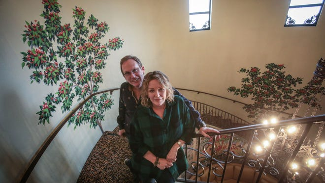 """Del Shores and Bonnie Bedelia, the creator and star of the Palm Springs cult film, """"Sordid Lives,"""" at the Camelot on Saturday, February 18, 2017."""