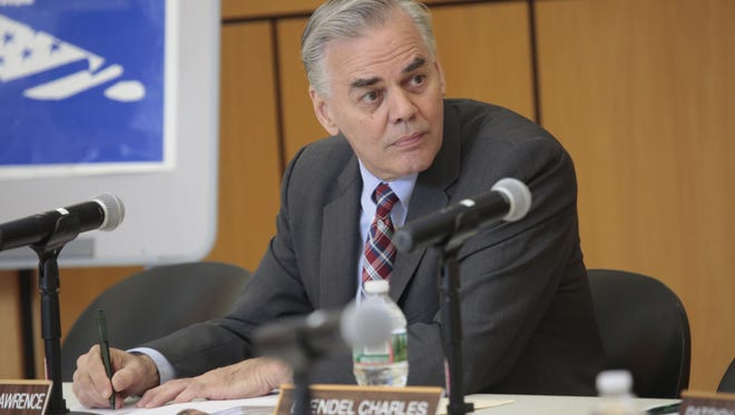 Ramapo Supervisor Christopher St. Lawrence at a town board meeting on May 26, 2016, after his federal indictment on fraud and conspiracy charges.