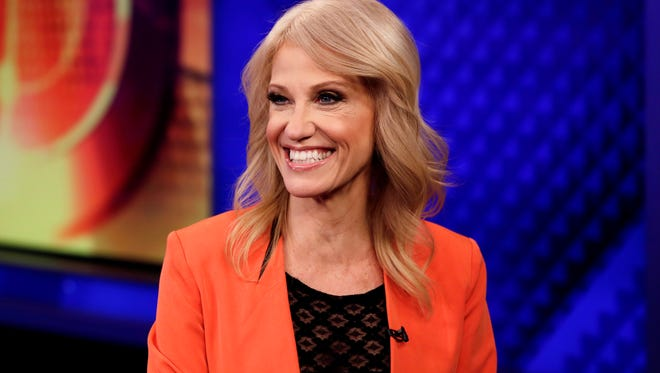 """Counselor to the President Kellyanne Conway is interviewed by Howard Kurtz during a taping of his """"MediaBuzz"""" program, on the Fox News Channel, in New York Friday, March 10, 2017."""