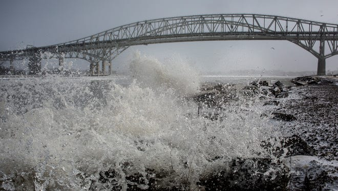 The U.S. National Weather Service issued a lakeshore flood watch for St. Clair County and a high wind watch for both St. Clair County and Sanilac County on April 13, 2020.
