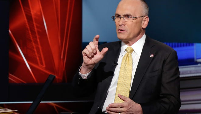 """Andrew Puzder, CEO of CKE Restaurants, who was nominated by President-elect Donald Trump to be United States secretary of labor, is interviewed by anchor Neil Cavuto during his """"Cavuto: Coast to Coast"""" program, on the Fox Business Network, in New York on March 9."""