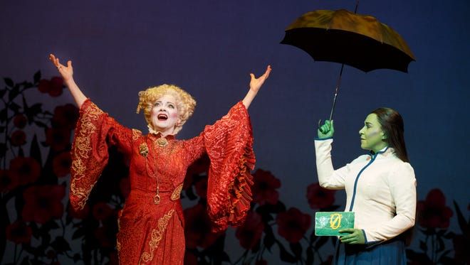 Wicked: Isabel Keating (left) plays Madame Morrible  Jessica Vosk as Elphaba.