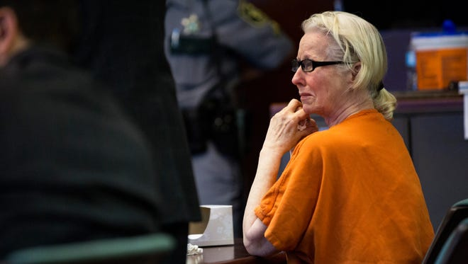 Jacqueline Ribes, 60, cries while appearing in court for a sentencing hearing at the Collier County Courthouse on Tuesday, March 28, 2017. Ribes, found guilty of DUI manslaughter, was sentenced to 12 years in prison.