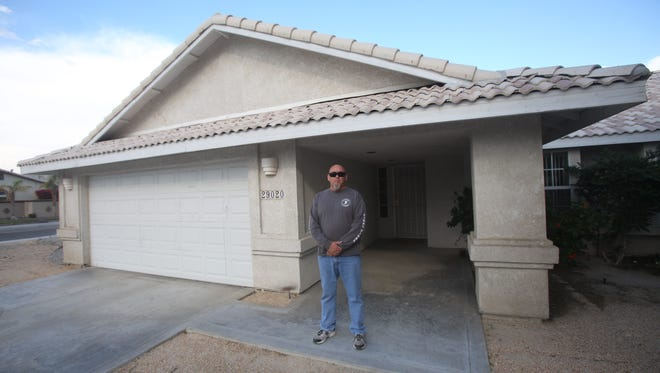 Jim Smith outside his former rental home in Cathedral City on March 22, 2017.